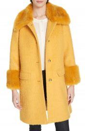 kate spade new york faux fur trim fluffy coat   Nordstrom at Nordstrom