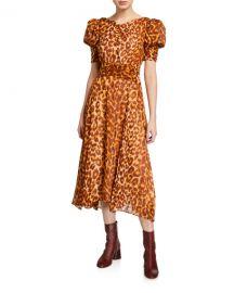 kate spade new york panthera clip dot puff-sleeve dress at Neiman Marcus