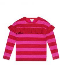 kate spade new york ruffle-trim metallic stripe knit sweater  size 7-14 at Neiman Marcus