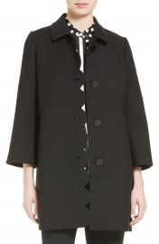 kate spade new york scallop twill coat black at Nordstrom