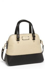 kate spade new york small grove court maise leather satchel in Seedpearl Black at Nordstrom