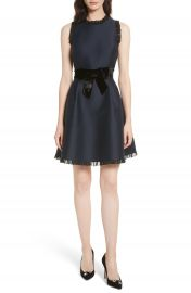 kate spade new york velvet bow fit   flare dress at Nordstrom