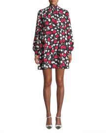 kate spade new york vintage fleur mock-neck long-sleeve mini crepe dress at Neiman Marcus