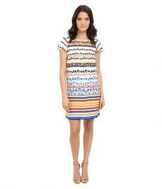 kensie Floral Stripes Dress KS4K7925 Black Combo at 6pm