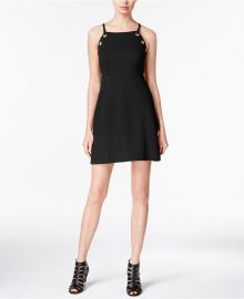 kensie Grommet-Detail A-Line Dress in Black at Macys