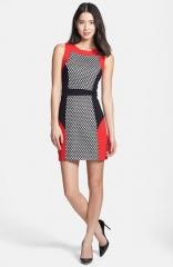 kensie Mesh Colorblock Ponte Sheath Dress in red at Nordstrom