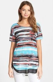 kensie and39Paint Streaksand39 Chiffon Inset Tee at Nordstrom