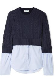 kenzo LAYERED CABLE-KNIT WOOL AND COTTON-POPLIN SWEATER at Net A Porter