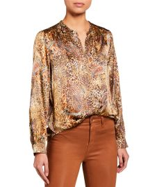 lagence Bardot Long-Sleeve Button-Down Top at Neiman Marcus