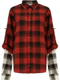 layered plaid shirt at Farfetch