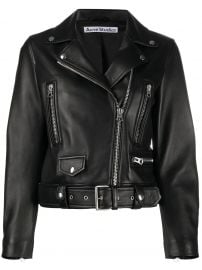 leather biker jacket at Farfetch