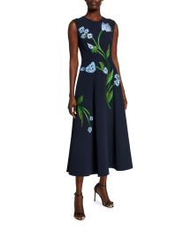 lela rose Floral-Embroidered Dress at Neiman Marcus