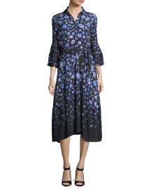 lela rose Floral-Print Tie-Waist Shirtdress at Bergdorf Goodman
