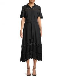 lela rose Flutter-Sleeve Textured Silk Cloque Shirtdress with Lace Inset at Bergdorf Goodman