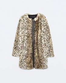 leopard print coat at Zara