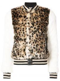 leopard print faux fur bomber jacket at Farfetch