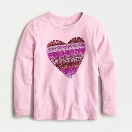 long-sleeve T-shirt in sequin heart at J. Crew