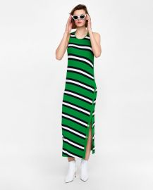long striped dress at Zara