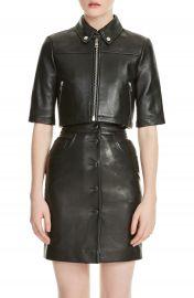 maje Brittany Crop Leather Jacket   Nordstrom at Nordstrom