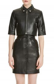 maje Brittany Crop Leather Jacket at Nordstrom