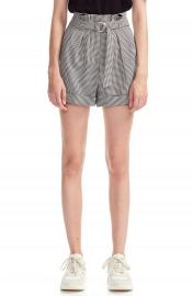 maje Imy Houdstooth Check Paperbag Waist Belted Shorts   Nordstrom at Nordstrom