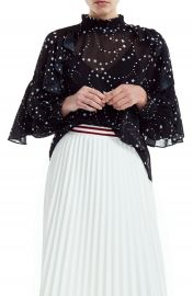 maje Letro Star Print Ruffle Blouse   Nordstrom at Nordstrom