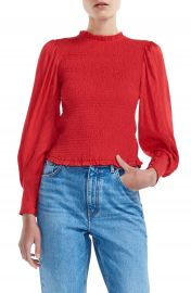 maje Limine Smocked Long Sleeve Blouse   Nordstrom at Nordstrom