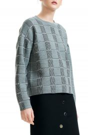 maje Mission Grid Pattern Wool Blend Sweater at Nordstrom