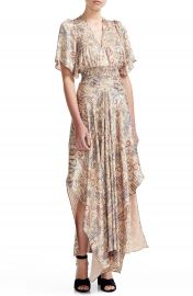 maje Rachel Paisley Smocked Waist Asymmetrical Maxi Dress   Nordstrom at Nordstrom