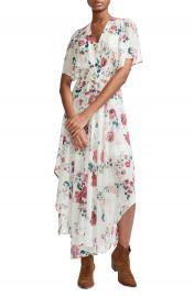 maje Rachelle Asymmetrical Hem Floral Print Maxi Dress   Nordstrom at Nordstrom