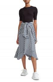 maje Rapri Jersey Bodice  amp  Gingham Skirt Midi Dress   Nordstrom at Nordstrom