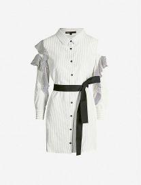 maje Relia striped cold-shoulder woven dress at Selfridges