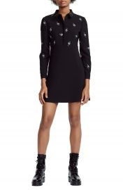 maje Riwest Embroidered Shirtdress at Nordstrom