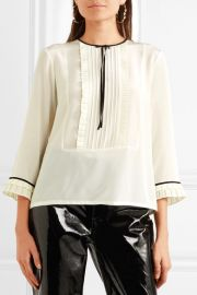 marc jacobs Grosgrain-trimmed ruffled silk crepe de chine blouse at Net A Porter