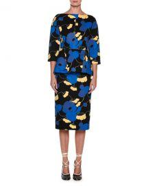 marni quarter Sleeve Floral Peplum Dress at Bergdorf Goodman
