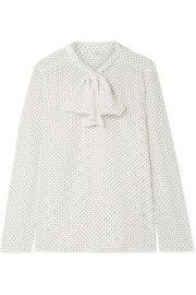 max mara Polka-dot silk crepe de chine and stretch-jersey blouse at Net A Porter