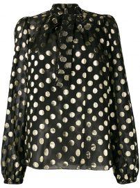 metallic polka dot blouse at Farfetch