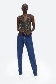 metallic thread printed blouse at Zara