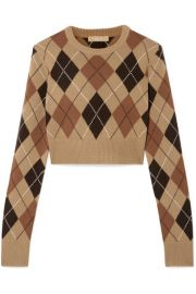 michael kors CROPPED ARGYLE CASHMERE SWEATER at Net A Porter