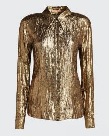 michael kors CRUSHED METALLIC BUTTON-FRONT SHIRT at Bergdorf Goodman
