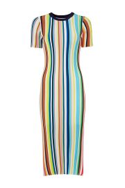 milly Rainbow Stripe Knit Dress at Rent The Runway