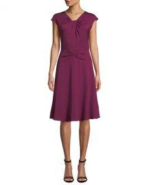 milly Tatiana Cap-Sleeve A-Line Stretch-Silk Dress at Bergdorf Goodman
