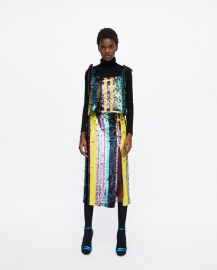 multicoloured sequin top at Zara