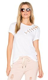 n PHILANTHROPY Gaia Lace Front Tee in White from Revolve com at Revolve