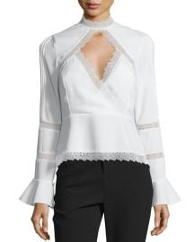 n nicholas Lace-Inset Keyhole-Front Top at Neiman Marcus
