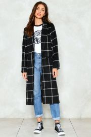 nasty gal Town Square Grid Coat at Nasty Gal