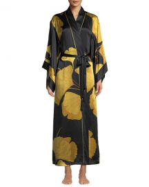 natori Long Ginkgo Leaf-Print Silk Drop-Sleeve Robe at Bergdorf Goodman