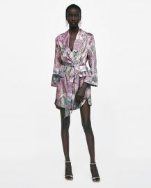 paisley print blazer-style dress at Zara