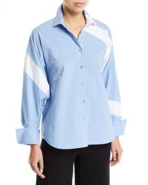 palmer  harding Solo Striped Cotton Paneled Button-Front Shirt at Neiman Marcus