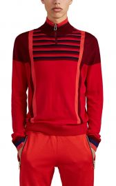 paul smith COLORBLOCKEd STRIPED MERINO WOOL QUARTER-ZIP SWEATER at Barneys